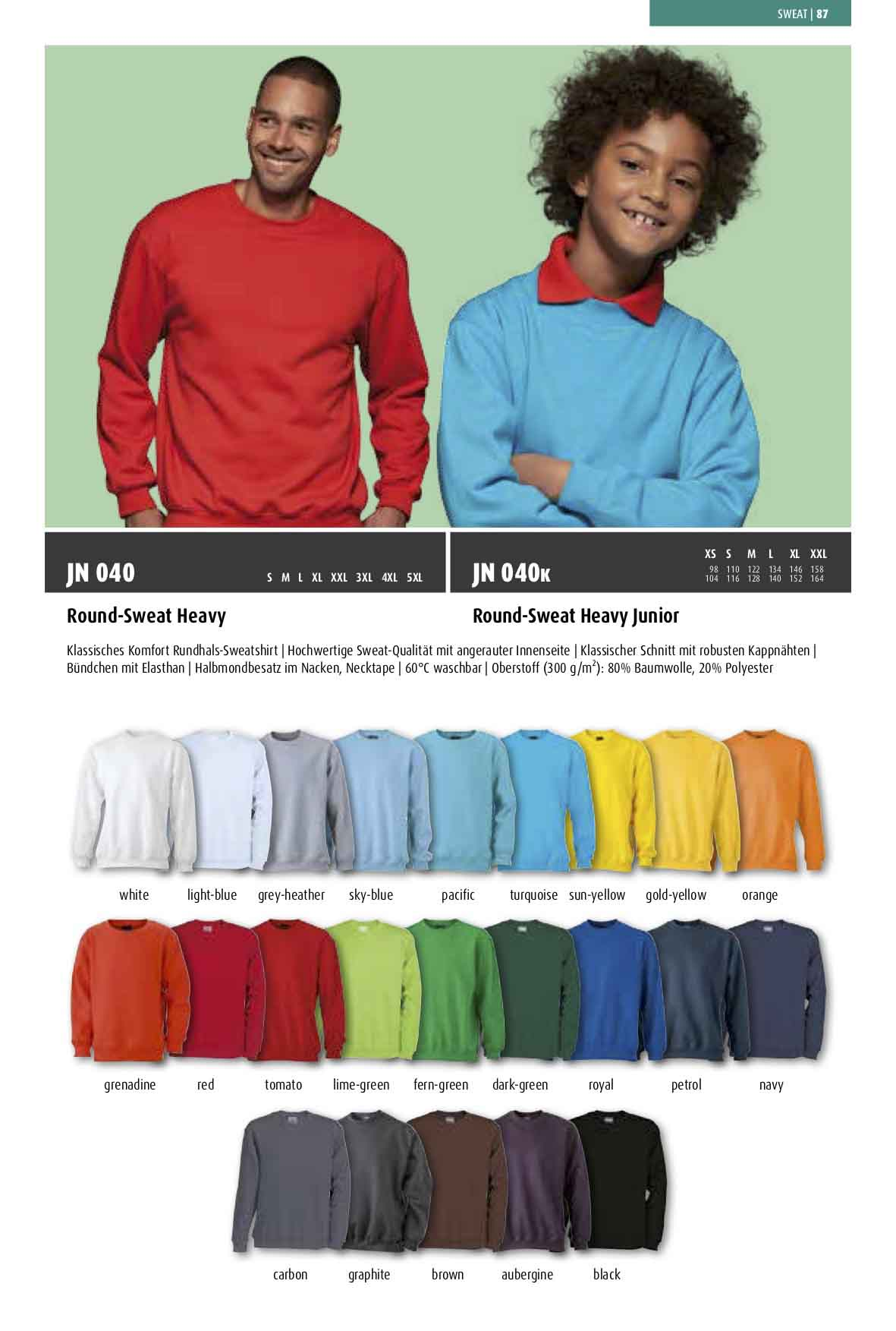 Katalog Sweat-Shirt Farben