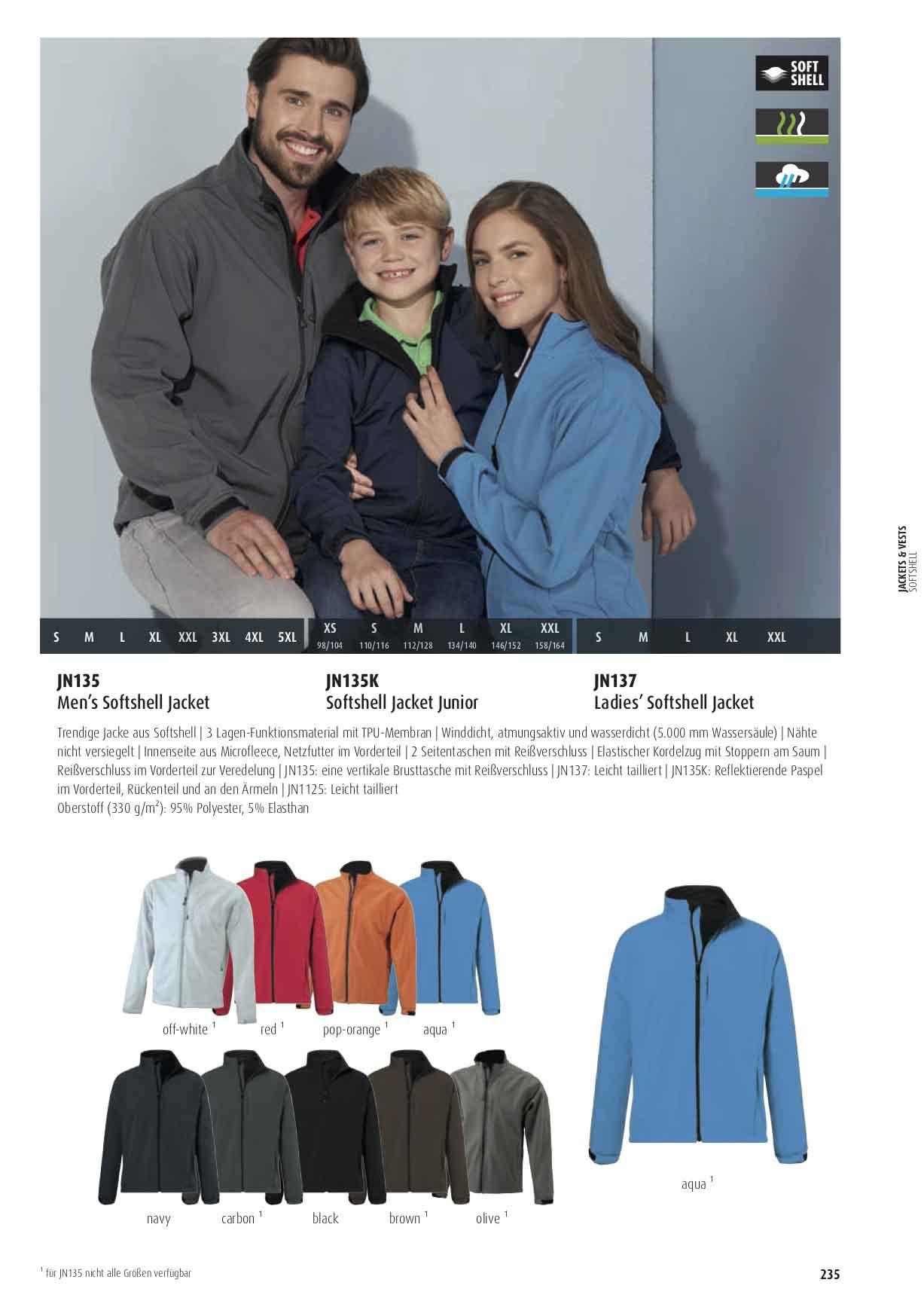 Farben Softshell Jacke